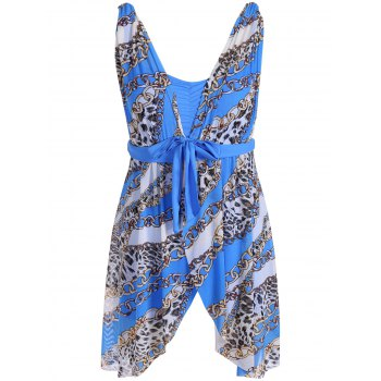 Graceful Plunging Neck Chain and Leopard Print Asymmetrical One-Piece Women's Swimwear - BLUE 2XL