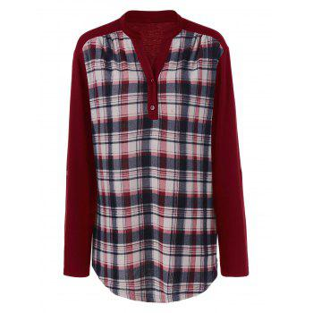 Plus Size Split-Neck Plaid Trim Blouse
