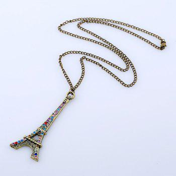 Eiffel Tower Rhinestone Sweater Chain - BRONZE COLORED