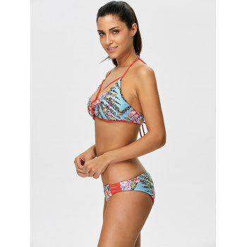 Cut Out Floral Halter Bikini Set - FLORAL M