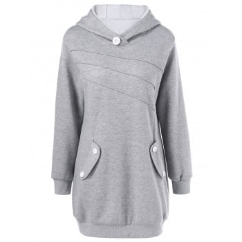 Buy Button Decorated Pockets Longline Hoodie LIGHT GRAY