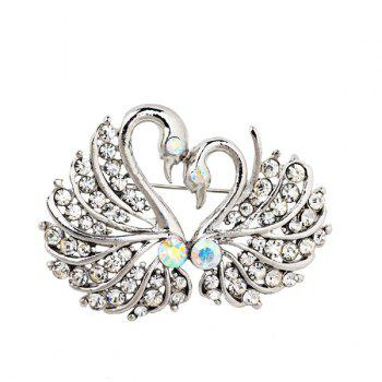 Double Swan Rhinestoned Brooch