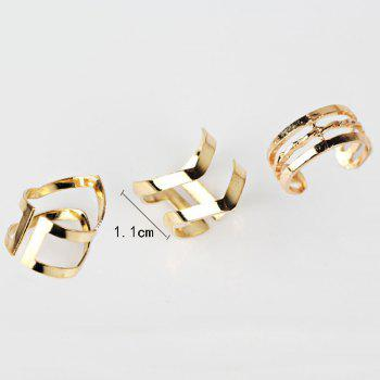 Geometric Hollow Out Cuff Ring Set - GOLDEN