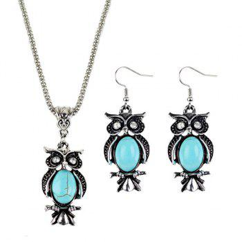 Faux Turquoise Owl Jewelry Set