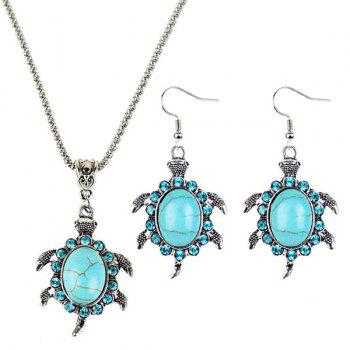 Tortoise Faux Turquoise Necklace and Earrings