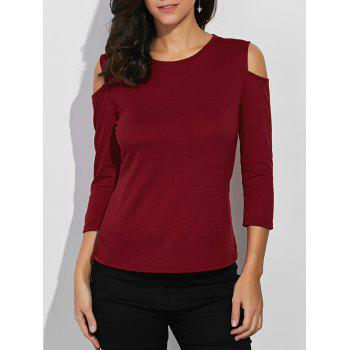 Round Neck Cold Shoulder Tee
