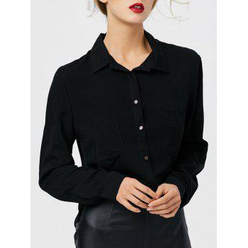 Front Pocket Button Up High Low Shirt