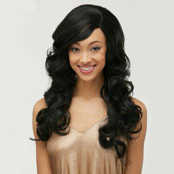 Long Body Wave Side Bang Front Lace Human Hair Wig - BLACK BLACK
