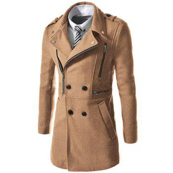 Asymetrical Zip Up Wool Blend Coat