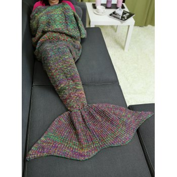 Crochet Knit Mix Color Mermaid Blanket Throw