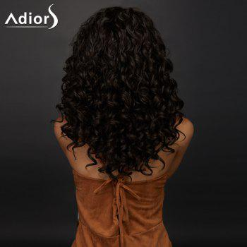 Side Parting Long Shaggy Curly Synthetic Wig -  DEEP BROWN