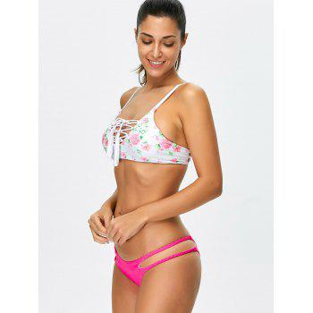 Floral Lace Up Strappy Bikini Set - FLORAL M