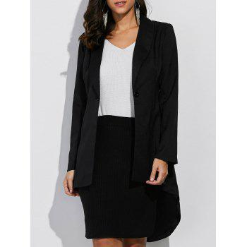 Button Design Asymmetrical Blazer - BLACK BLACK