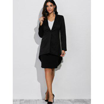 Button Design Asymmetrical Blazer - BLACK 2XL
