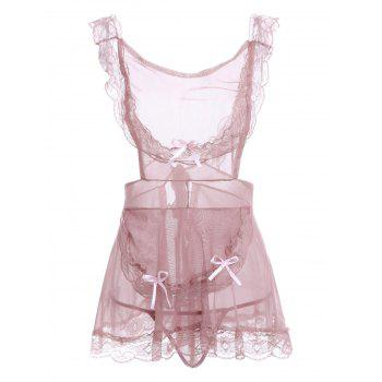 Lace Insert Low Cut Backless Sheer Babydoll