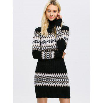 Chervon Panel Turtleneck  Sweater Dress