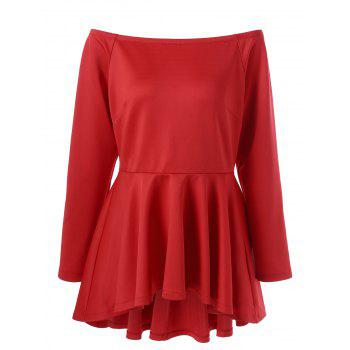 Plus Size Asymmetric Peplum Top