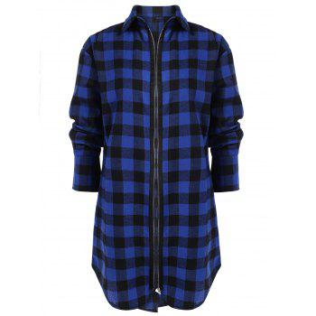 Plus Size Plaid Zip Up Longline Shirt