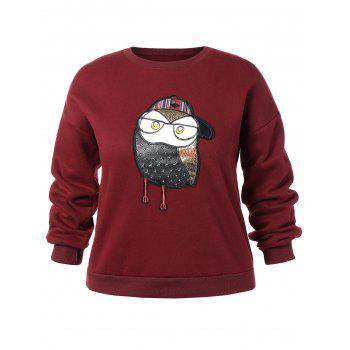 Owl Embroidered Crew Neck Plus Size Sweatshirt