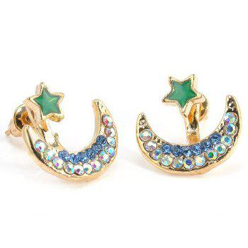 Rhinestone Moon Star Earrings