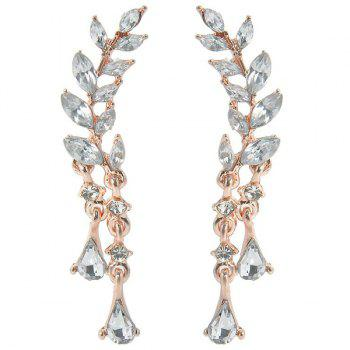 Rhinestone Teardrop Tree Leaf Earrings