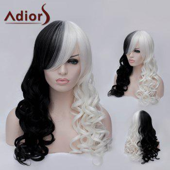 Adiors Side Bang Long Double Color Fluffy Wavy Party Synthetic Wig