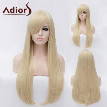 Adiors Long Inclined Bang Natural Straight Party Synthetic Wig