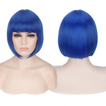 Short Neat Bang Candy Color Straight Synthetic Cosplay Wig