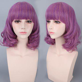 Medium Neat Bang Culrly Synthetic Cosplay Wig