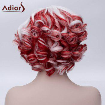 Adiors Inclined Bang Short Colormix Curly Party Synthetic Wig - COLORMIX