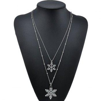 Rhinestoned Snowflake Layered Necklace