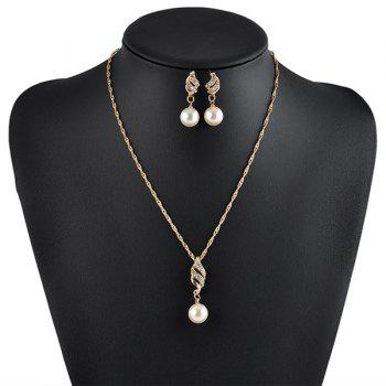 Rhinestoned Faux Pearl Necklace with Earrings