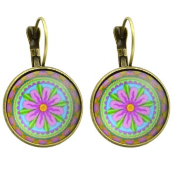 Round Flower Pattern Pendant Clip on Earrings