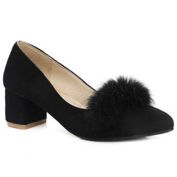 Block Heel Faux Fur Pumps