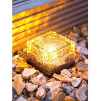 Outdoor Lawn Solar Power Glass Cube LED Night Light