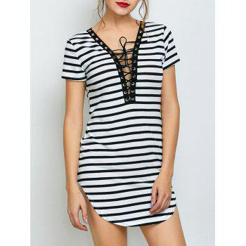Lace Up Striped Mini Dress