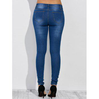 High Waist Distressed Jeans - DEEP BLUE L