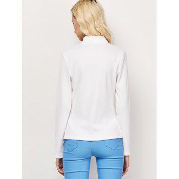 High Neck Cut Out Long Sleeve Fitted T-Shirt - WHITE WHITE