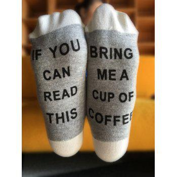 Letter Graphic Pattern Knitted Socks - GRAY GRAY