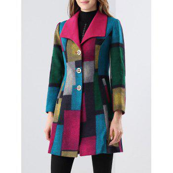 Patchwork Wool Blend Coat
