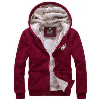 Zip Up Applique Flocking Hoodie and Pants Twinset - WINE RED M