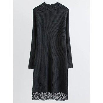Ribbed Lace Trim Jumper Dress