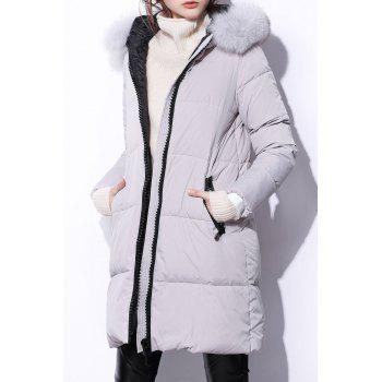 Zipper Down Coat with Fur Hood