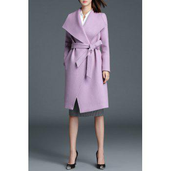 Wool Blend Knee Length Wrap Coat