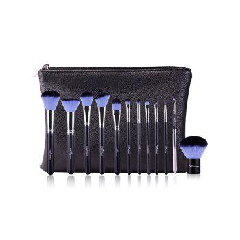 12 Pcs Portable Fiber Makeup Brushes Set with Brush Bag