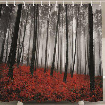 Forest Print Polyester Shower Curtain with Hook