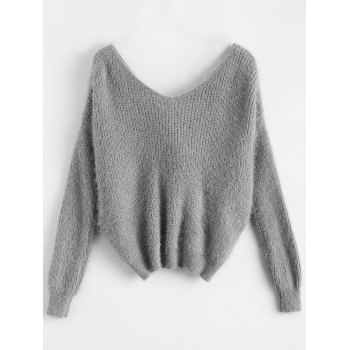 Twisted Back Chenille Sweater - GRAY ONE SIZE