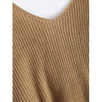 V Neck Twisted Back Sweater - KHAKI ONE SIZE