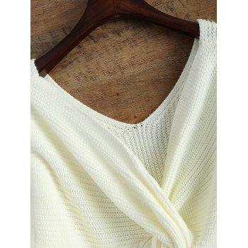 V Neck Twisted Back Sweater - WHITE ONE SIZE
