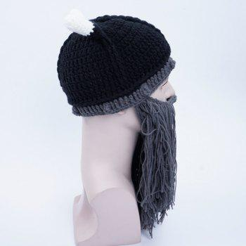 Faux Mustache Knitted Beanie Hat - BLACK